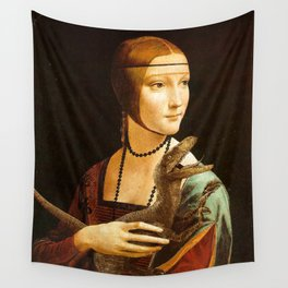 Lady with a Velociraptor Wall Tapestry