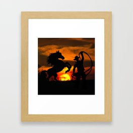 Cowboy at sunset Framed Art Print