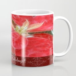 Mottled Red Poinsettia 1 Ephemeral Happy Holidays S5F1 Coffee Mug