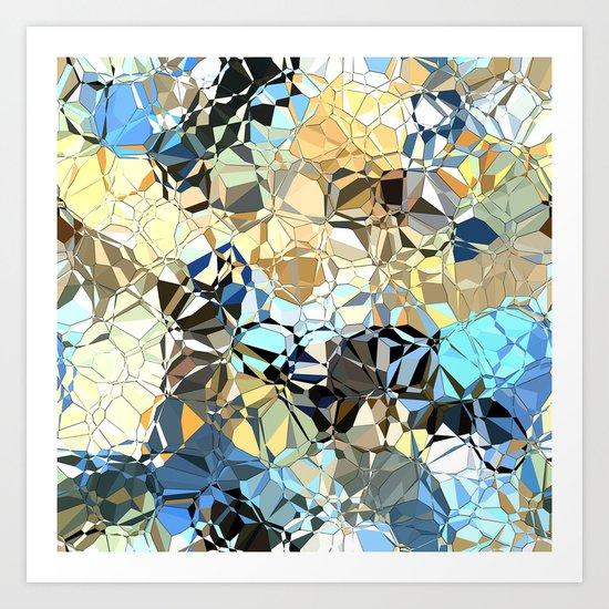 Blue And Beige Pattern Art Print