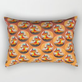 Kawaii baby orange dragon with punk hair Rectangular Pillow