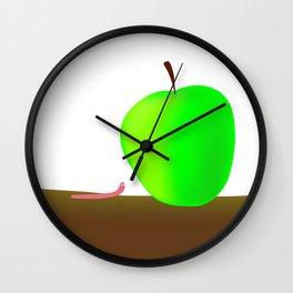 Worm And Big Apple Wall Clock