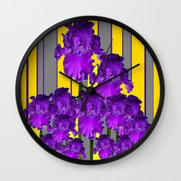 Decorative Contemporary Purple Yellow Iris Grey Garden Art Wall Clock