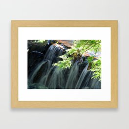 Green Japanese Maple Momiji Leaves and Waterfall Photography Framed Art Print