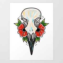Crow Skull and Flowers Art Print
