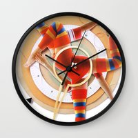 pivot Wall Clocks featuring Pivot | Collage by Lucid House