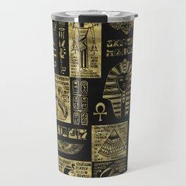 Egyptian  hieroglyphs and symbols gold on black leather Travel Mug
