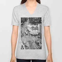 Street people in New York Unisex V-Neck