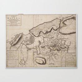 Vintage Map of Havana Cuba (1762) 2 Canvas Print