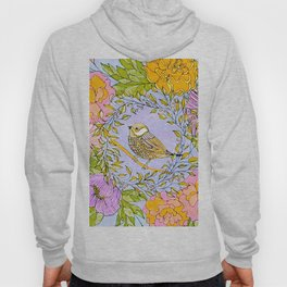 Spring Chickadee in Flowery Woodland Wreath Hoody