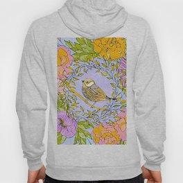 Spring Chickadee in Flowery Woodland Wreath Hoody