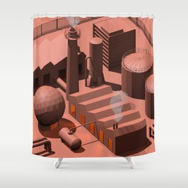 Low Poly Industry Shower Curtain
