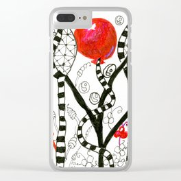 Pop of Color, Red Balloon Zendoodle in Fanciful Forest Clear iPhone Case