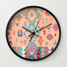 Peachy Boho Kilim Wall Clock