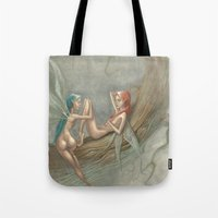 fairies Tote Bags featuring fairies by george houridis