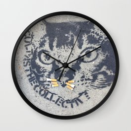 A Cat with cigarette butt whiskers Wall Clock
