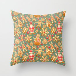 santa claus, gingerbread man, gifts and snowflakes christmas pattern Throw Pillow
