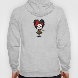 Day of the Dead Girl Playing Cameroon Flag Guitar Hoody