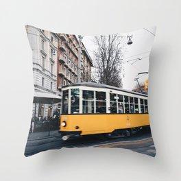 Tram in Milan Throw Pillow