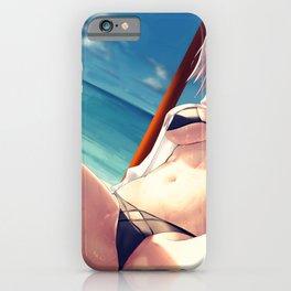 Super Hot Hentai Girl In Bikini Relaxing On Beach With Spread Legs Ultra HD iPhone Case