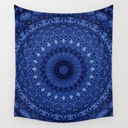 Mandala in deep blue tones Wall Tapestry