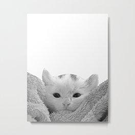 kitten in a blanket b&w Metal Print