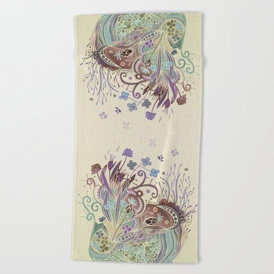 Thistle_tangle Beach Towel