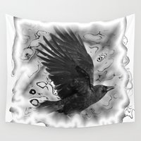 crow Wall Tapestries featuring crow by Vector Art