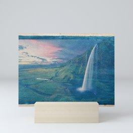 Cyanotype Photo of Seljalandsfoss Waterfall Iceland Falls Mini Art Print