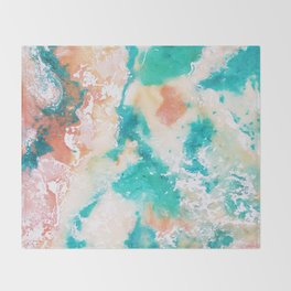 Sea Foam and Pink Abstract Throw Blanket