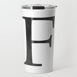 Letter F Initial Monogram Black and White Travel Mug