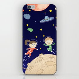 Space kids astronauts planets asteroids and spaceships iPhone Skin