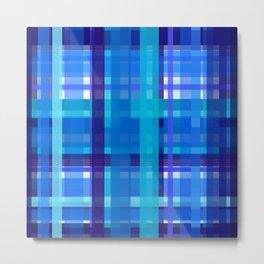 Plaidish - Shades of Blue Metal Print