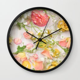 Romantic Pink Flowers Wall Clock