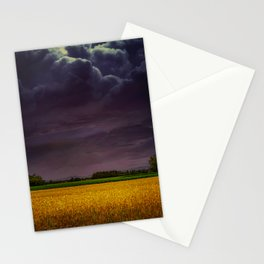 Wheat field under the purple sky Stationery Cards