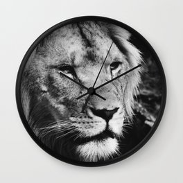 African Lion Black and White Photographic Print Wall Clock