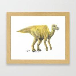 Yellow Hadrosaur Framed Art Print