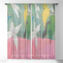 floral pink summer Sheer Curtain