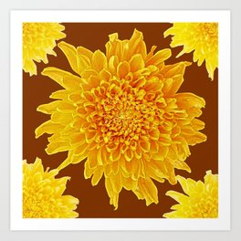 Coffee Brown Color Golden Yellow Chrysanthemums Art Print
