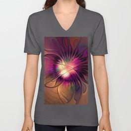 Flowering Fantasy, Abstract Fractal Art Unisex V-Neck