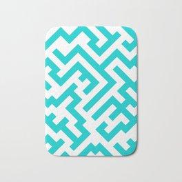 White and Cyan Diagonal Labyrinth Bath Mat