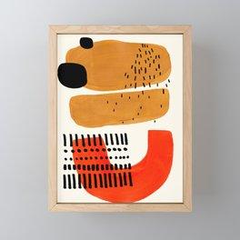 Mid Century Modern Abstract Minimalist Retro Vintage Style Fun Playful Ochre Yellow Ochre Orange  Framed Mini Art Print