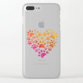 Animal Paws Heart design For Dog Lovers Clear iPhone Case