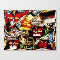 power rangers Canvas Prints featuring Power Rangers Megazords by sn33ky