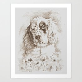 English Setter puppy Monochrome sgraffito Art Print