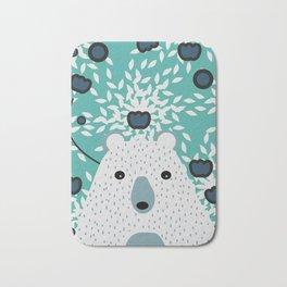 White bear in mint floral rain Bath Mat