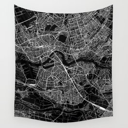 Rotterdam Black Map Wall Tapestry