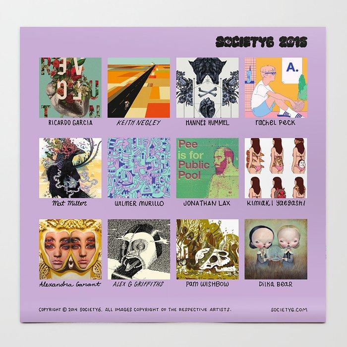 Society6 Artist Calendar 2015 Editions