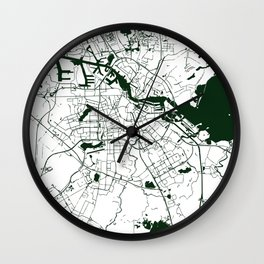 Amsterdam White on Green Street Map Wall Clock