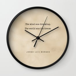 Jorge Luis Borges Quote 02 - Typewriter Quote on Old Paper - Minimalist Literary Print Wall Clock